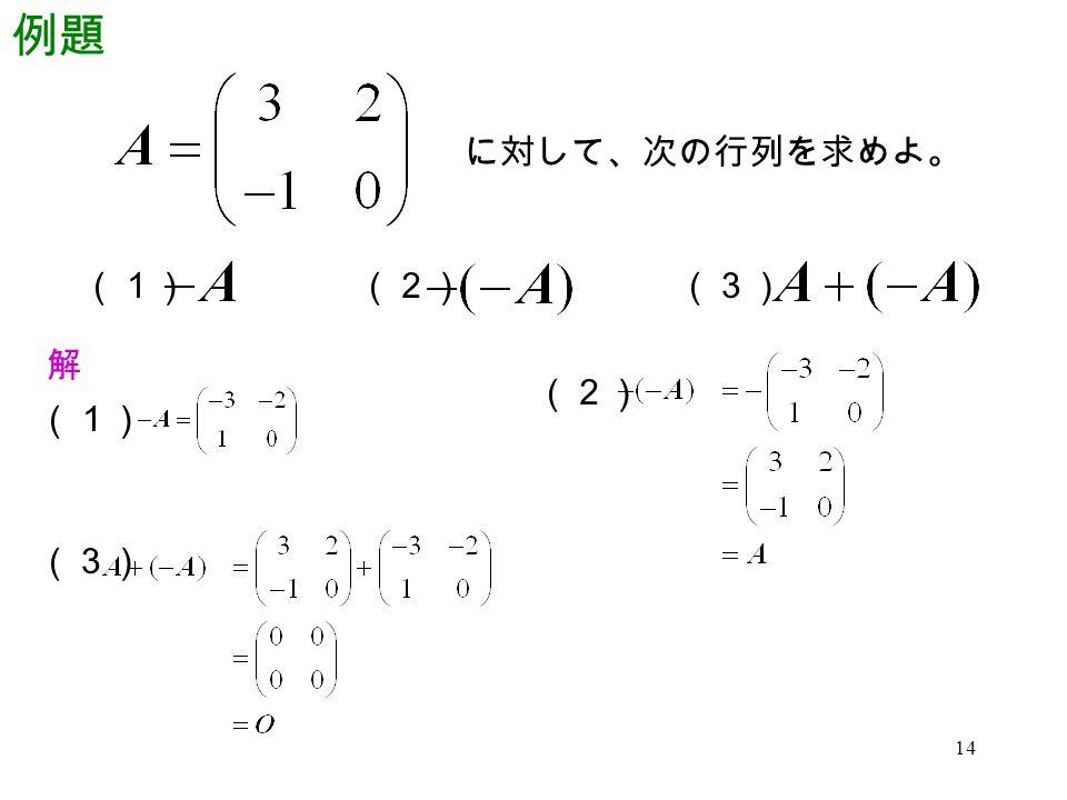 14 例題 に対して、次の行列を求めよ。 (1)(2)(3) 解 (1) (2) (3)