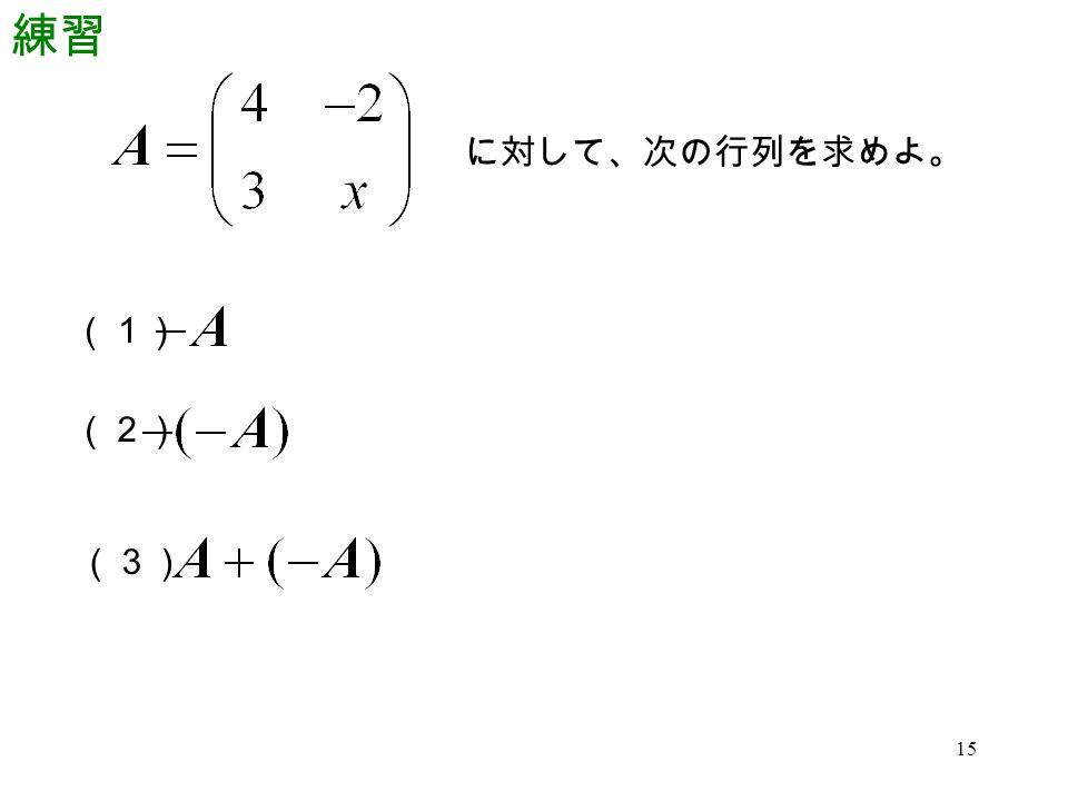 15 練習 に対して、次の行列を求めよ。 (1) (2) (3)