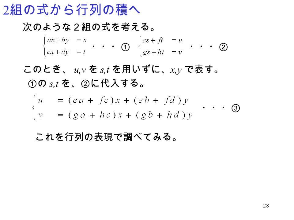 28 2 組の式から行列の積へ 次のような2組の式を考える。 このとき、 u,v を s,t を用いずに、 x,y で表す。 ・・・①・・・② ①の s,t を、②に代入する。 これを行列の表現で調べてみる。 ・・・③