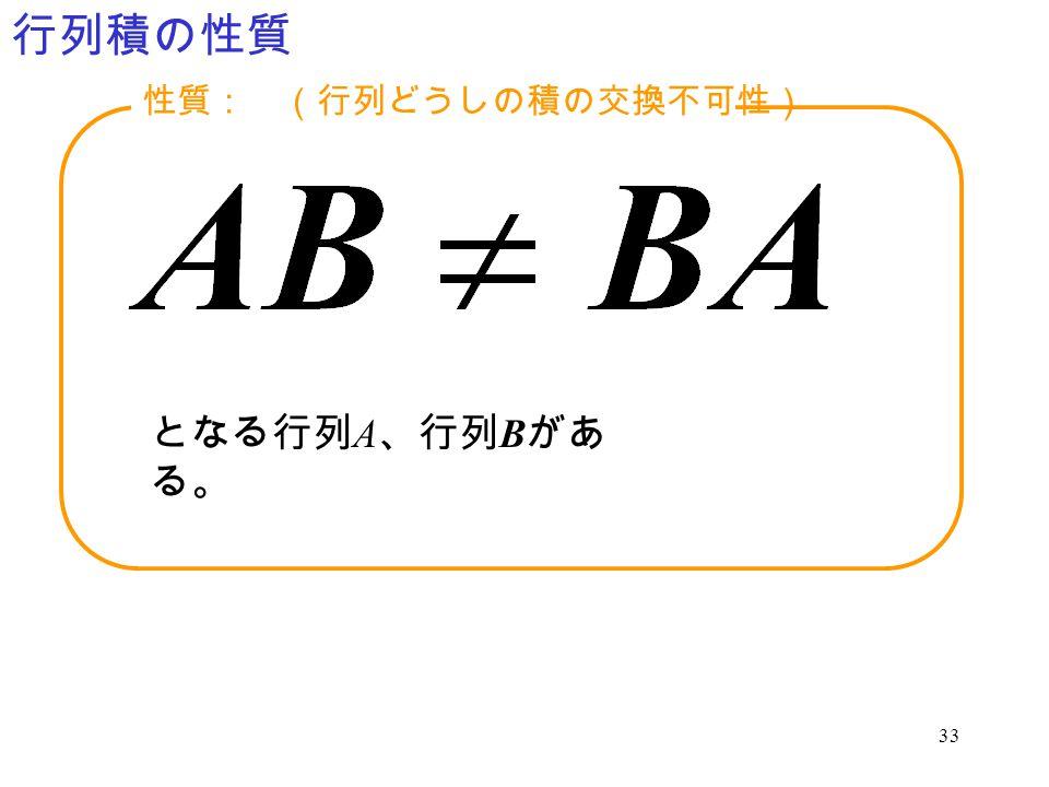 33 行列積の性質 となる行列 A 、行列 B があ る。 性質: (行列どうしの積の交換不可性)