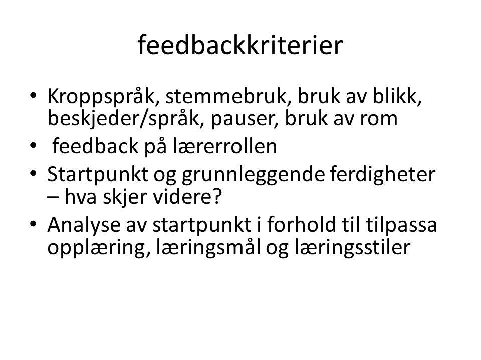 feedbackkriterier Kroppspråk, stemmebruk, bruk av blikk, beskjeder/språk, pauser, bruk av rom feedback på lærerrollen Startpunkt og grunnleggende ferd