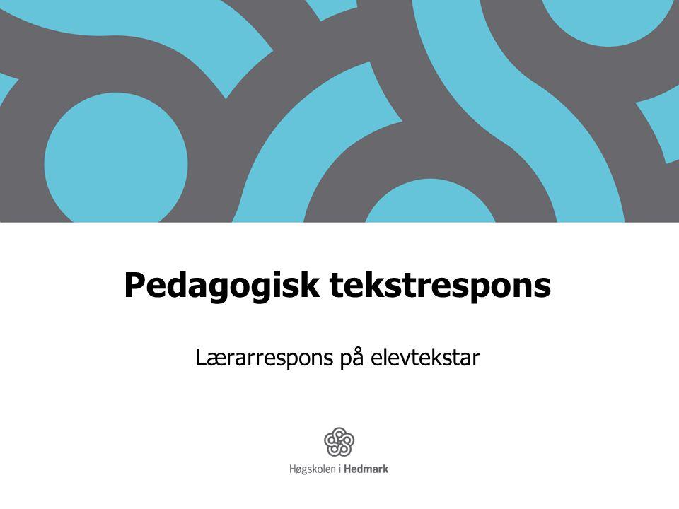 Pedagogisk tekstrespons Lærarrespons på elevtekstar
