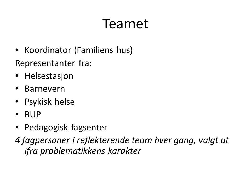 Teamet Koordinator (Familiens hus) Representanter fra: Helsestasjon Barnevern Psykisk helse BUP Pedagogisk fagsenter 4 fagpersoner i reflekterende tea