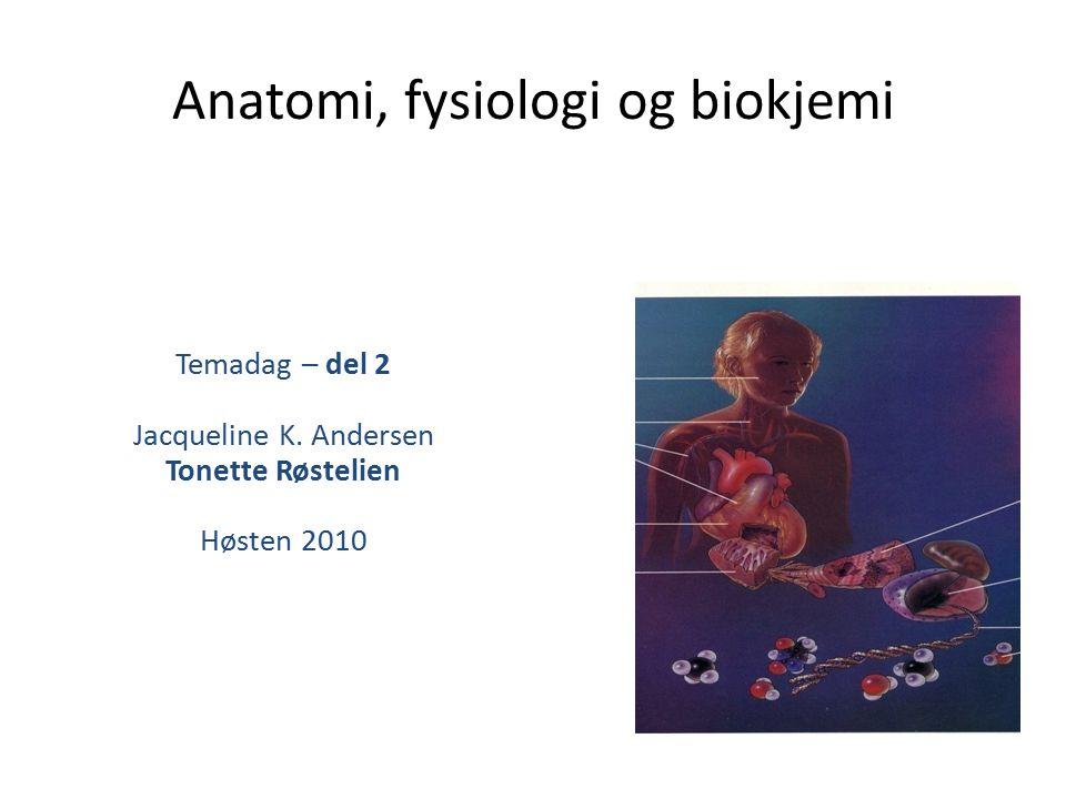 Anatomi, fysiologi og biokjemi Temadag – del 2 Jacqueline K. Andersen Tonette Røstelien Høsten 2010