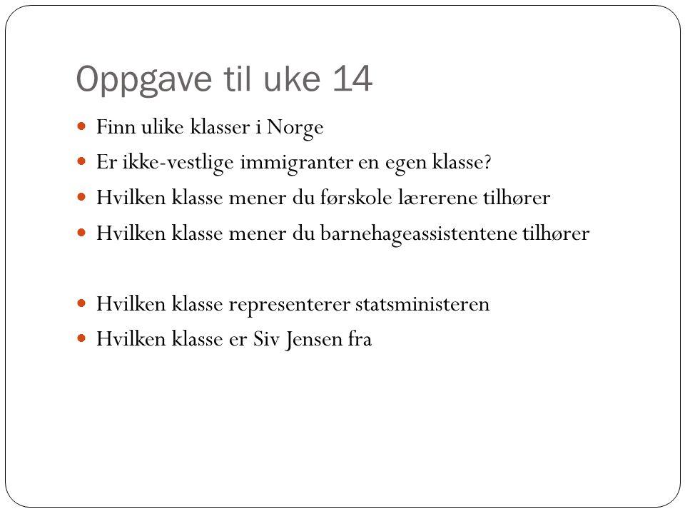 Oppgave til uke 14 Finn ulike klasser i Norge Er ikke-vestlige immigranter en egen klasse? Hvilken klasse mener du førskole lærerene tilhører Hvilken