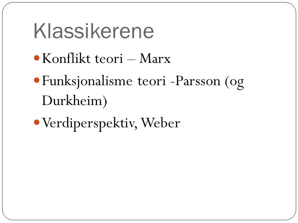 Klassikerene Konflikt teori – Marx Funksjonalisme teori -Parsson (og Durkheim) Verdiperspektiv, Weber