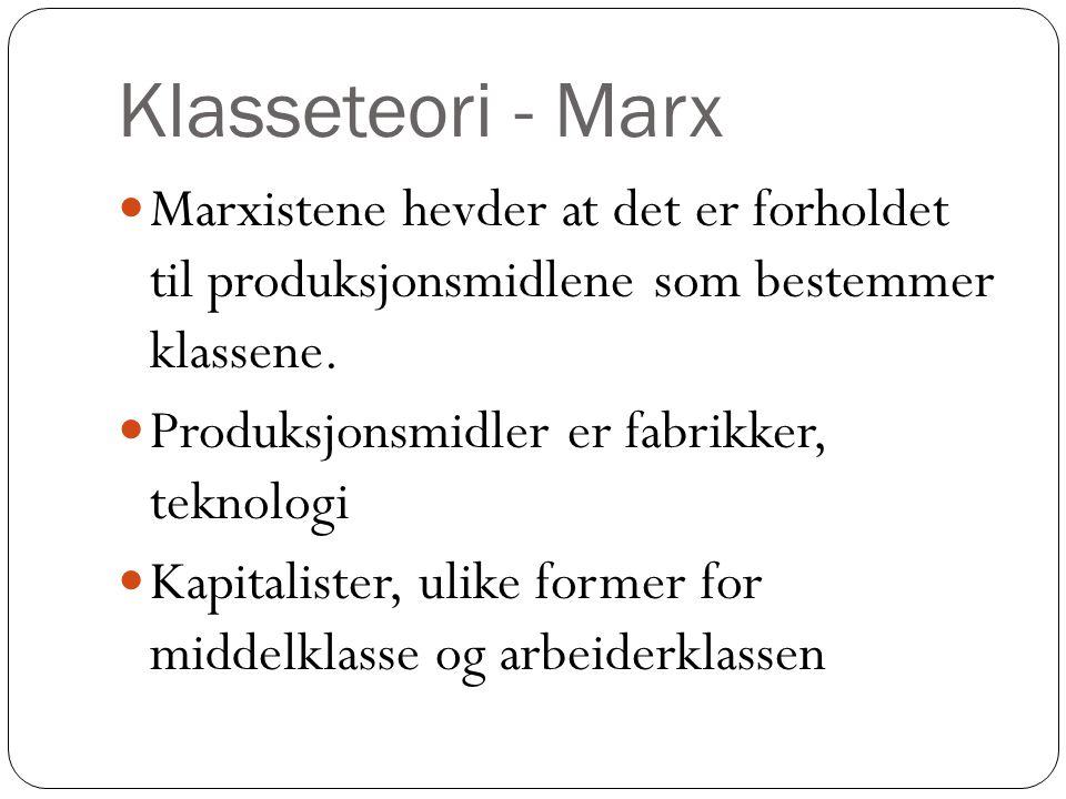 Klasseteori - Marx Marxistene hevder at det er forholdet til produksjonsmidlene som bestemmer klassene.
