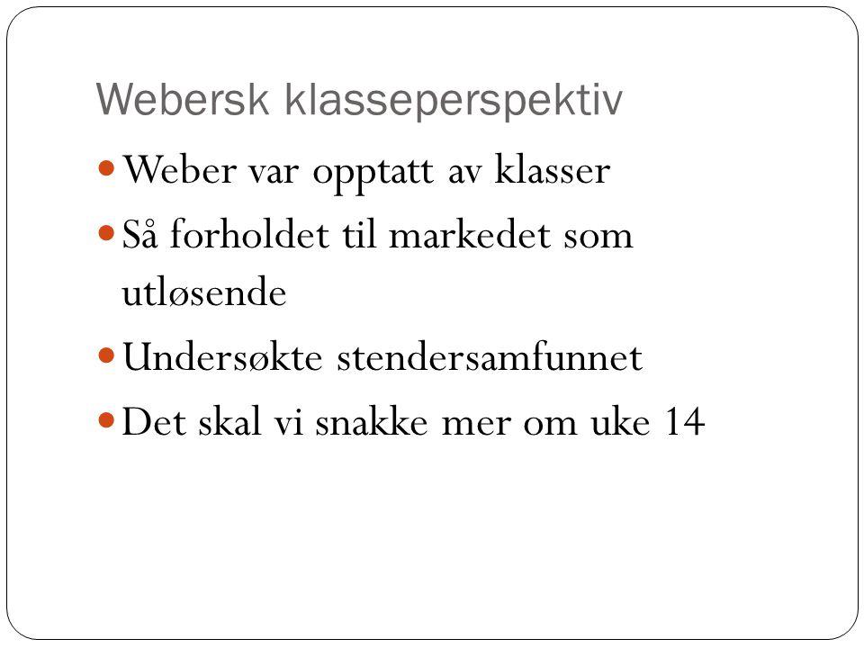 Oppgave til uke 14 Finn ulike klasser i Norge Er ikke-vestlige immigranter en egen klasse.