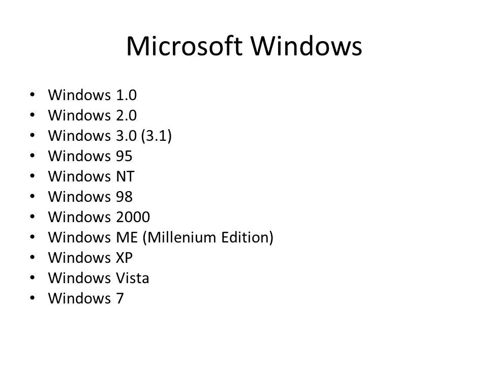 Microsoft Windows Windows 1.0 Windows 2.0 Windows 3.0 (3.1) Windows 95 Windows NT Windows 98 Windows 2000 Windows ME (Millenium Edition) Windows XP Windows Vista Windows 7