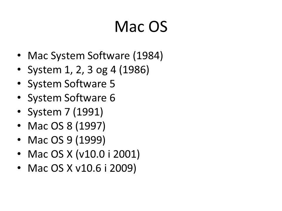 Mac OS Mac System Software (1984) System 1, 2, 3 og 4 (1986) System Software 5 System Software 6 System 7 (1991) Mac OS 8 (1997) Mac OS 9 (1999) Mac O