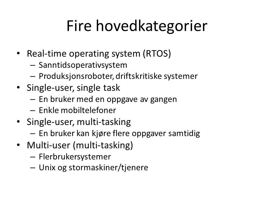 Fire hovedkategorier Real-time operating system (RTOS) – Sanntidsoperativsystem – Produksjonsroboter, driftskritiske systemer Single-user, single task