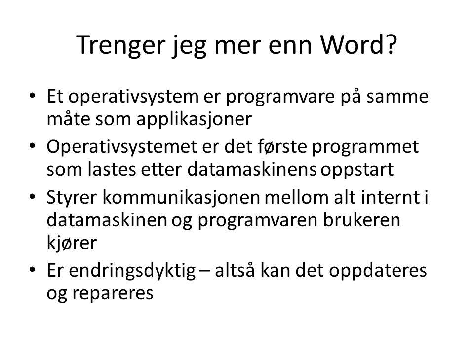 Trenger jeg mer enn Word? Et operativsystem er programvare på samme måte som applikasjoner Operativsystemet er det første programmet som lastes etter