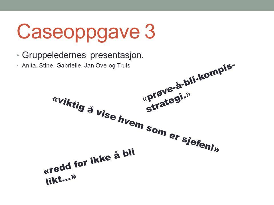 Caseoppgave 3 Gruppeledernes presentasjon. Anita, Stine, Gabrielle, Jan Ove og Truls « prøve-å-bli-kompis- strategi. » «viktig å vise hvem som er sjef