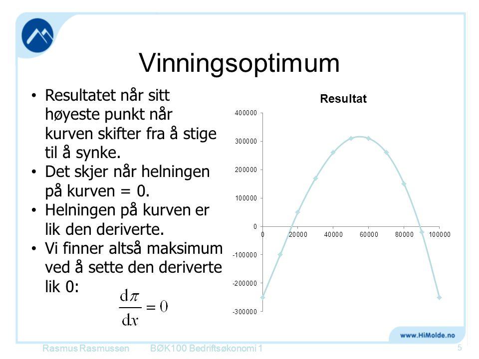 Optimal tilpasning med konstant variabel enhetskostnad BØK100 Bedriftsøkonomi 1 36 Pris TEK VEK=DEK DEI X kr VEK er et estimat for differanseenhetskostnaden i det relevante kapasitetsintervallet Rasmus Rasmussen Optimum: GI = GK DEI = VEK