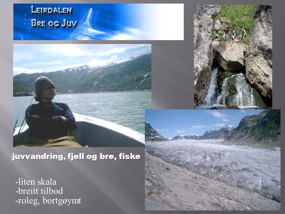 juvvandring, fjell og bre, fiske -liten skala -breitt tilbod -roleg, bortgøymt