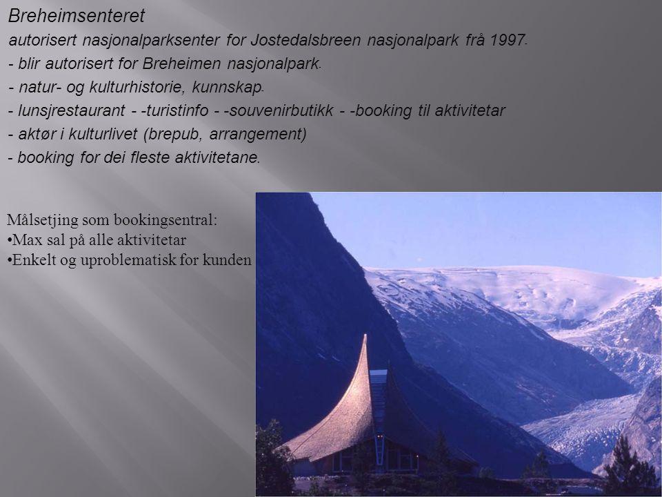 Breheimsenteret - autorisert nasjonalparksenter for Jostedalsbreen nasjonalpark frå 1997 - - blir autorisert for Breheimen nasjonalpark - - natur- og kulturhistorie, kunnskap - lunsjrestaurant - -turistinfo - -souvenirbutikk - -booking til aktivitetar - aktør i kulturlivet (brepub, arrangement) - booking for dei fleste aktivitetane.