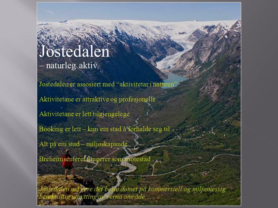 """Jostedalen – naturleg aktiv Jostedalen er assosiert med """"aktivitetar i naturen"""" Aktivitetane er attraktive og profesjonelle Aktivitetane er lett tilgj"""