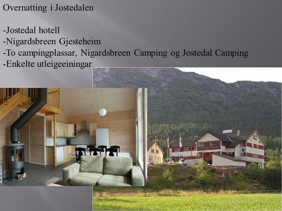 Overnatting i Jostedalen -Jostedal hotell -Nigardsbreen Gjesteheim -To campingplassar, Nigardsbreen Camping og Jostedal Camping -Enkelte utleigeeining