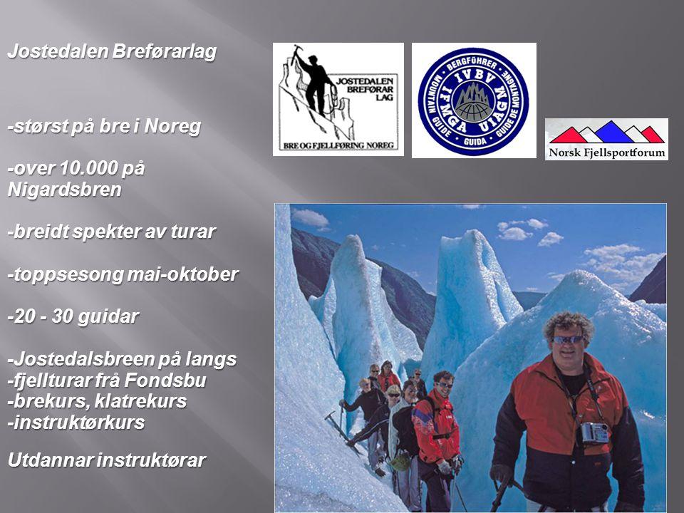 Jostedalen Breførarlag -størst på bre i Noreg -over 10.000 på Nigardsbren -breidt spekter av turar -toppsesong mai-oktober -20 - 30 guidar -Jostedalsb
