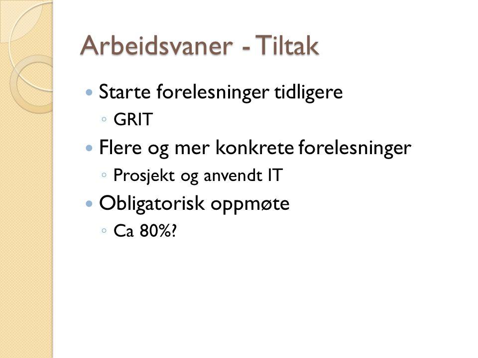 Arbeidsvaner - Tiltak Starte forelesninger tidligere ◦ GRIT Flere og mer konkrete forelesninger ◦ Prosjekt og anvendt IT Obligatorisk oppmøte ◦ Ca 80%?