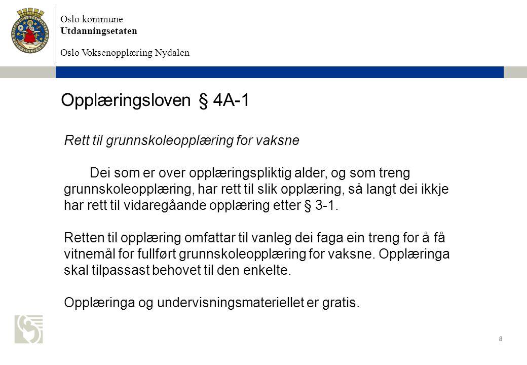 Oslo kommune Utdanningsetaten Oslo Voksenopplæring Nydalen 9 Opplæringsloven § 4A-2 Rett til spesialundervisning på grunnskolens område Vaksne som ikkje har eller ikkje kan få tilfredsstillande utbytte av det ordinære opplæringstilbodet for vaksne, har rett til spesialundervisning.