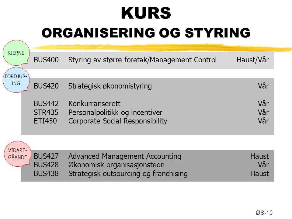 KURS ORGANISERING OG STYRING ØS-10 BUS400Styring av større foretak/Management ControlHaust/Vår BUS420Strategisk økonomistyringVår BUS442Konkurranseret