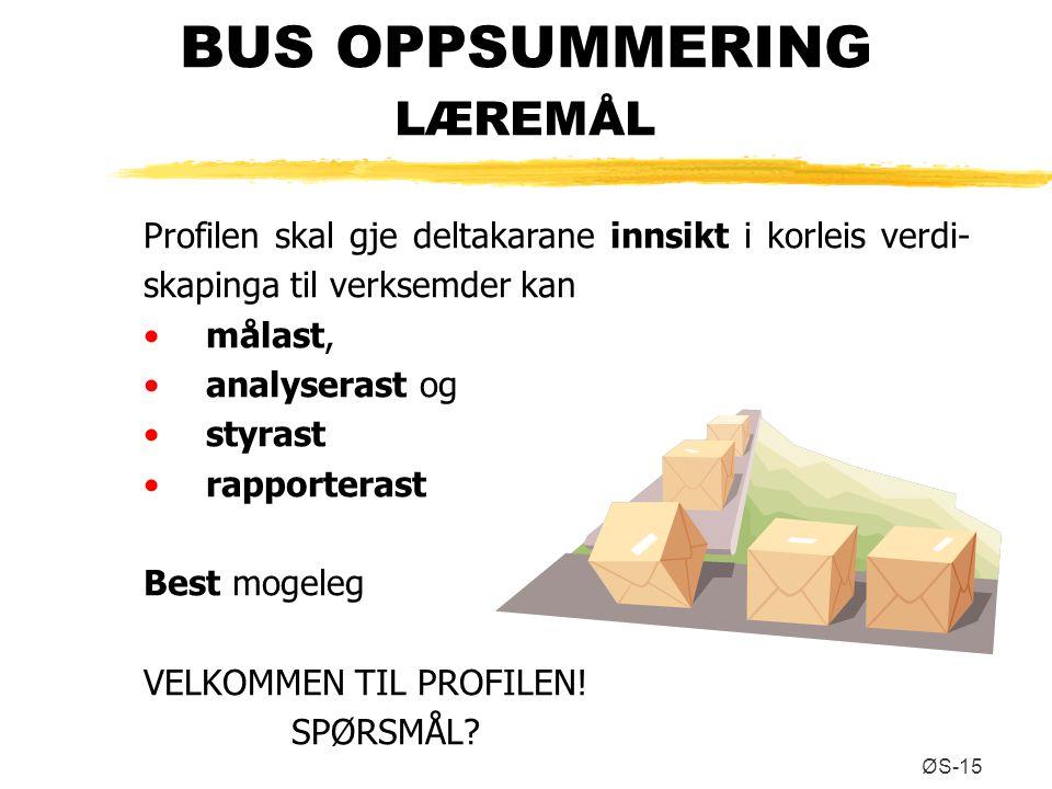ØS-15 BUS OPPSUMMERING LÆREMÅL Profilen skal gje deltakarane innsikt i korleis verdi- skapinga til verksemder kan målast, analyserast og styrast rappo