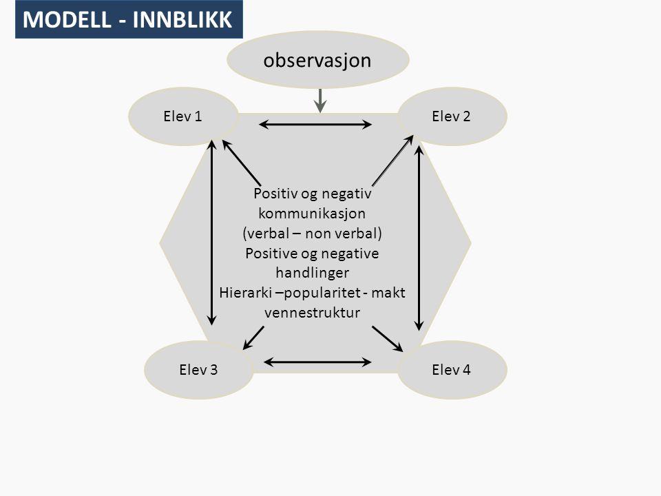 Positiv og negativ kommunikasjon (verbal – non verbal) Positive og negative handlinger Hierarki –popularitet - makt vennestruktur Elev 2 Elev 4Elev 3