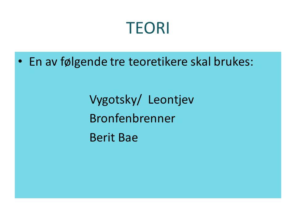 TEORI En av følgende tre teoretikere skal brukes: Vygotsky/ Leontjev Bronfenbrenner Berit Bae