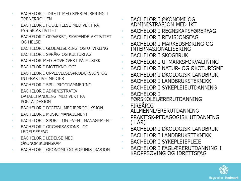 ProfesjonsutdanningerTydelig yrkesrettede BA- er Arbeidsmarkeds- og/ eller bransjerettede Mer tradisjonelt universitetslike Allmennlærerutdanning Førskolelærerutdanning for tospråklige lærere Faglærerutdanning for tospråklige førskolelær.