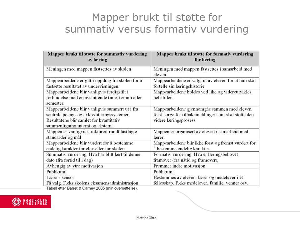 Mapper brukt til støtte for summativ versus formativ vurdering Mattias Øhra