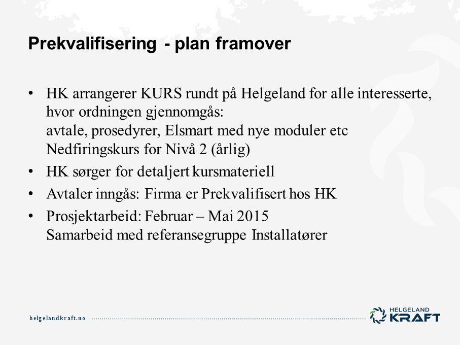helgelandkraft.no Prekvalifisering - plan framover HK arrangerer KURS rundt på Helgeland for alle interesserte, hvor ordningen gjennomgås: avtale, pro