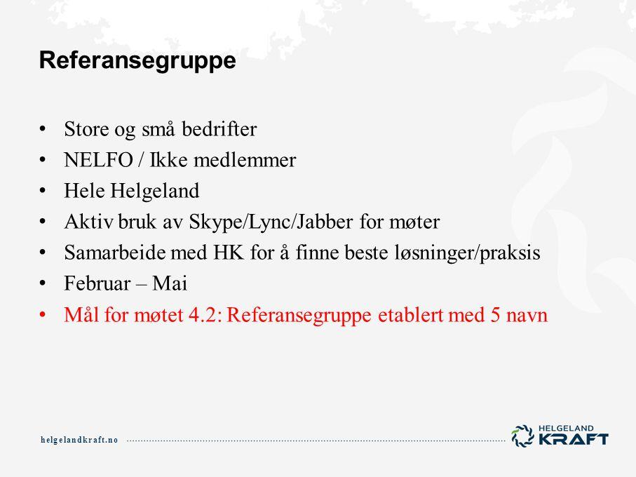 helgelandkraft.no Referansegruppe Store og små bedrifter NELFO / Ikke medlemmer Hele Helgeland Aktiv bruk av Skype/Lync/Jabber for møter Samarbeide me