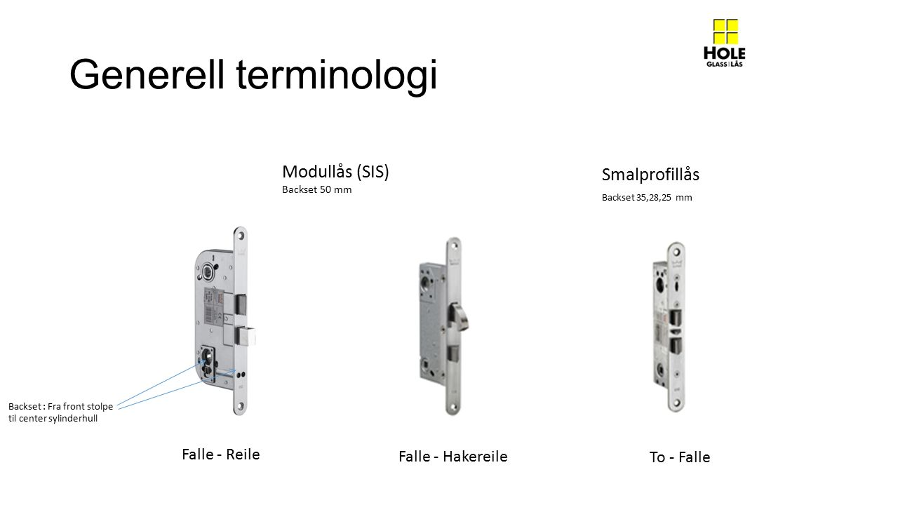 Generell terminologi Modullås (SIS) Backset 50 mm Falle - Reile Falle - Hakereile To - Falle Smalprofillås Backset 35,28,25 mm Backset : Fra front sto