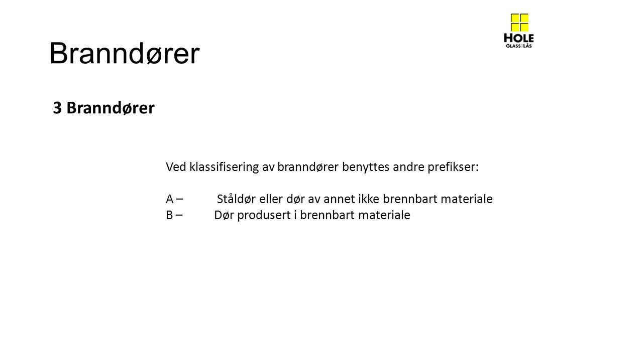 Branndører Ved klassifisering av branndører benyttes andre prefikser: A – Ståldør eller dør av annet ikke brennbart materiale B – Dør produsert i brennbart materiale 3 Branndører