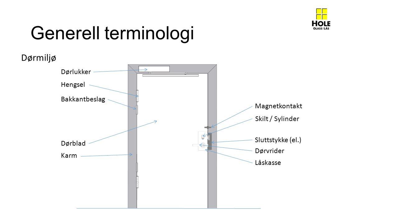 Generell terminologi Dørmiljø Dørlukker Hengsel Bakkantbeslag Magnetkontakt Sluttstykke (el.) Skilt / Sylinder Låskasse Dørvrider Dørblad Karm