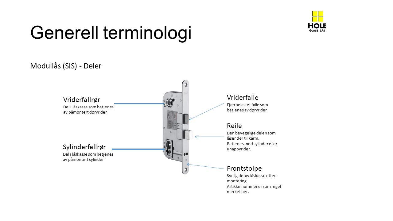 Generell terminologi Sylinderfallrør Del i låskasse som betjenes av påmontert sylinder Vriderfallrør Del i låskasse som betjenes av påmontert dørvrider Vriderfalle Fjærbelastet falle som betjenes av dørvrider Reile Den bevegelige delen som låser dør til karm.