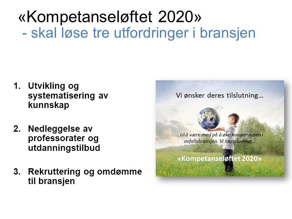 «Kompetanseløftet 2020» - skal løse tre utfordringer i bransjen 1.Utvikling og systematisering av kunnskap 2.Nedleggelse av professorater og utdanningstilbud 3.Rekruttering og omdømme til bransjen