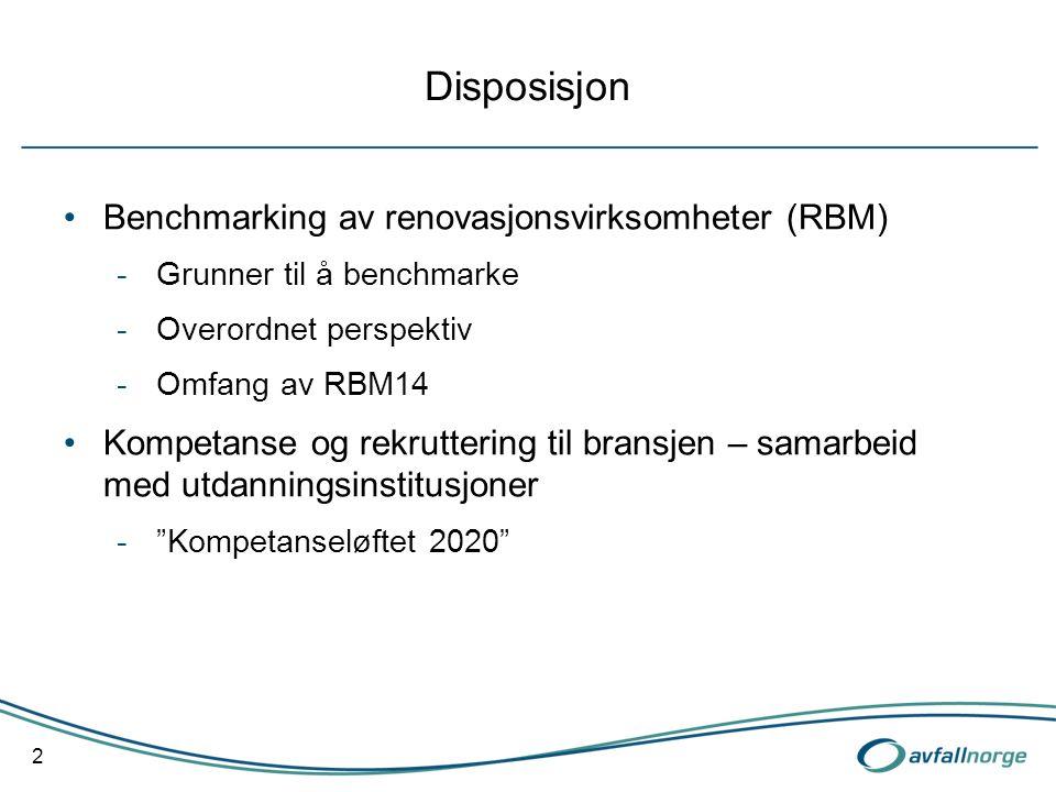 Disposisjon Benchmarking av renovasjonsvirksomheter (RBM) -Grunner til å benchmarke -Overordnet perspektiv -Omfang av RBM14 Kompetanse og rekruttering til bransjen – samarbeid med utdanningsinstitusjoner - Kompetanseløftet 2020 2