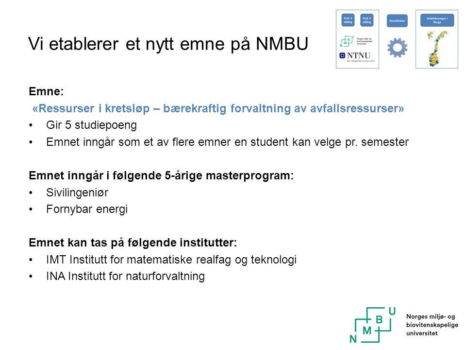 Vi etablerer et nytt emne på NMBU Emne: «Ressurser i kretsløp – bærekraftig forvaltning av avfallsressurser» Gir 5 studiepoeng Emnet inngår som et av flere emner en student kan velge pr.