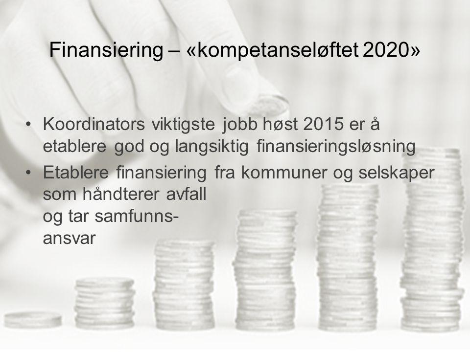 Finansiering – «kompetanseløftet 2020» Koordinators viktigste jobb høst 2015 er å etablere god og langsiktig finansieringsløsning Etablere finansiering fra kommuner og selskaper som håndterer avfall og tar samfunns- ansvar