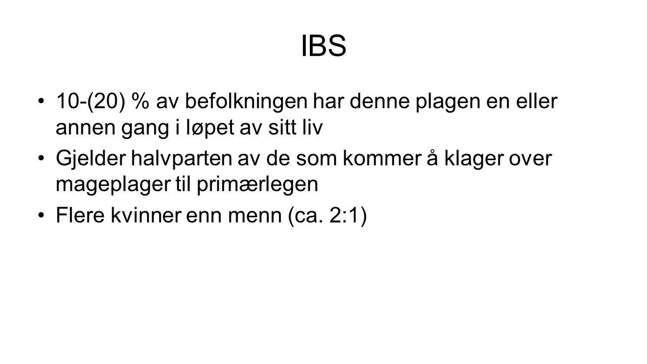Nær sammenheng mellom IBS og IBD 40 % av pas.