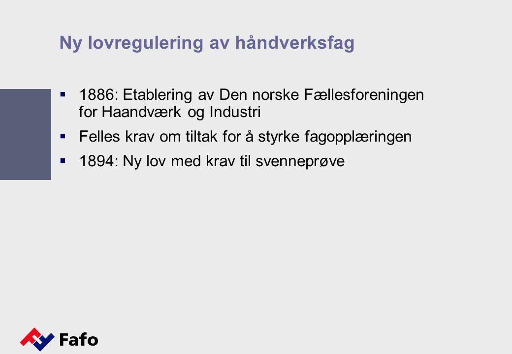 Ny lovregulering av håndverksfag  1886: Etablering av Den norske Fællesforeningen for Haandværk og Industri  Felles krav om tiltak for å styrke fagopplæringen  1894: Ny lov med krav til svenneprøve