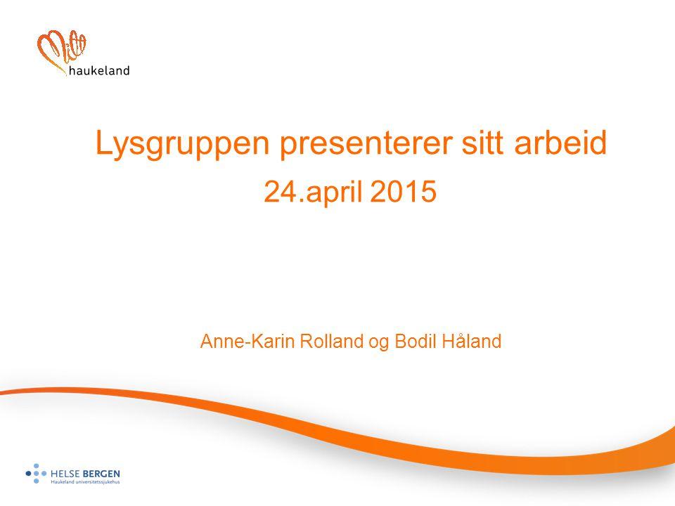 Lysgruppen presenterer sitt arbeid 24.april 2015 Anne-Karin Rolland og Bodil Håland