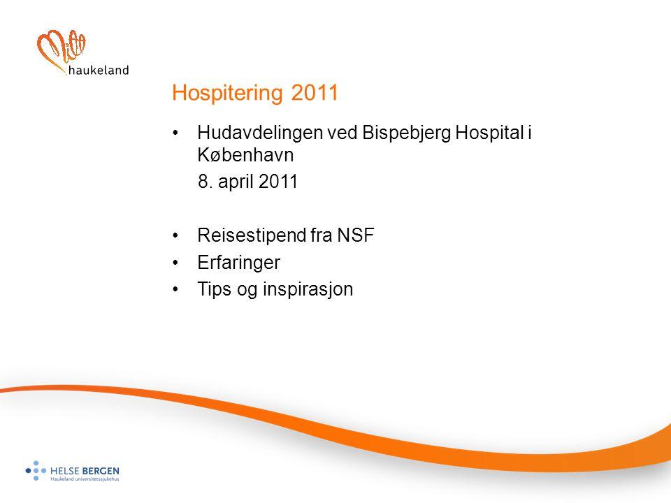 Hospitering 2011 Hudavdelingen ved Bispebjerg Hospital i København 8. april 2011 Reisestipend fra NSF Erfaringer Tips og inspirasjon