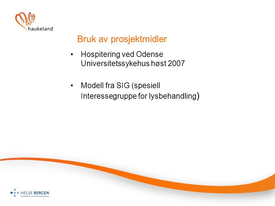 Bruk av prosjektmidler Hospitering ved Odense Universitetssykehus høst 2007 Modell fra SIG (spesiell Interessegruppe for lysbehandling )