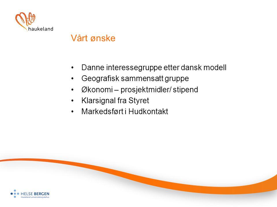 Vårt ønske Danne interessegruppe etter dansk modell Geografisk sammensatt gruppe Økonomi – prosjektmidler/ stipend Klarsignal fra Styret Markedsført i Hudkontakt