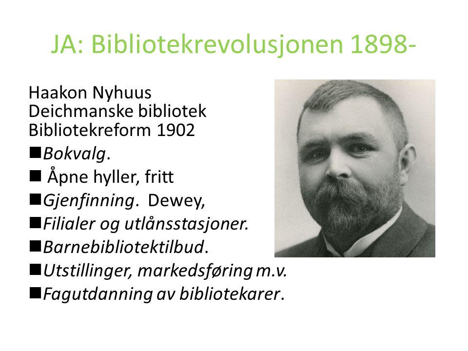 JA: Bibliotekrevolusjonen 1898- Haakon Nyhuus Deichmanske bibliotek Bibliotekreform 1902 Bokvalg. Åpne hyller, fritt Gjenfinning. Dewey, Filialer og u