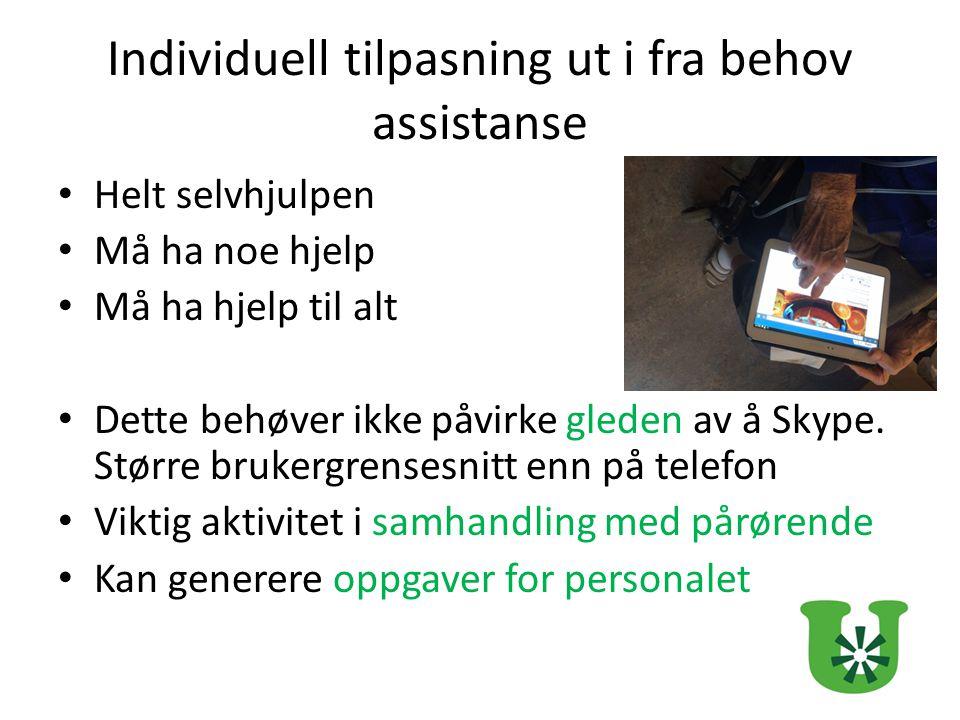 Individuell tilpasning ut i fra behov assistanse Helt selvhjulpen Må ha noe hjelp Må ha hjelp til alt Dette behøver ikke påvirke gleden av å Skype.