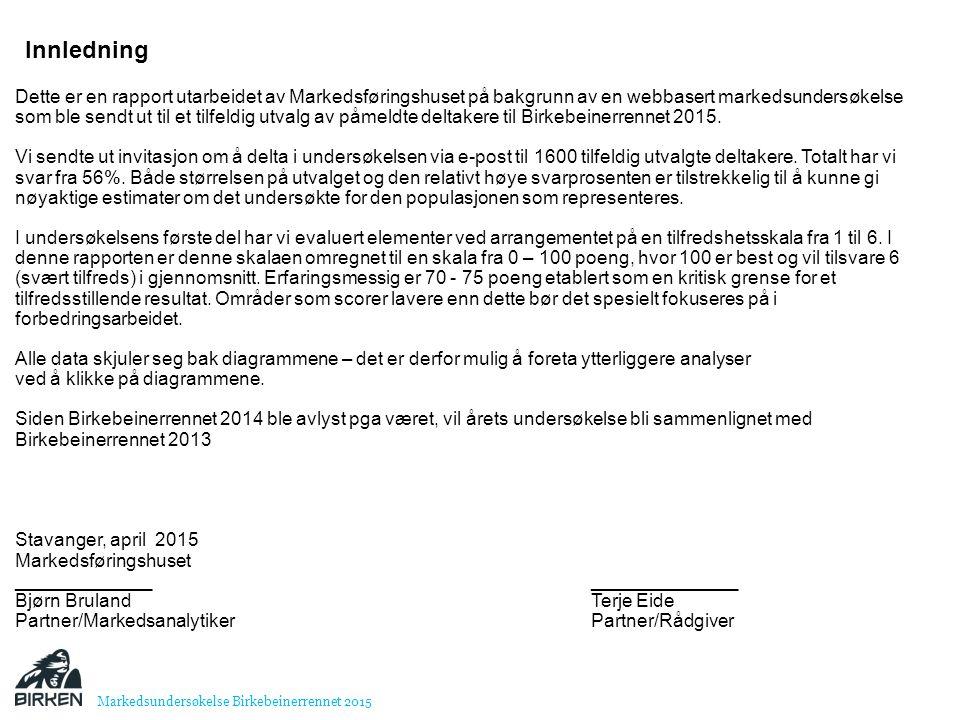 Dette er en rapport utarbeidet av Markedsføringshuset på bakgrunn av en webbasert markedsundersøkelse som ble sendt ut til et tilfeldig utvalg av påmeldte deltakere til Birkebeinerrennet 2015.